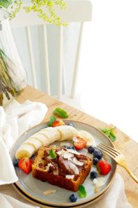 Havermoutbrood met peer en veenbessen