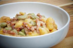 Gnocchi met tuinbonen en bacon