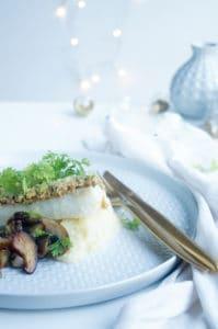 Schelvis met hazelnootkorstje en aardpeerpuree