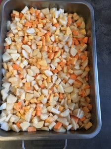 geroosterde soep aardpeer zoete aardappe