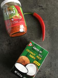 Rode curry met scampi en krieltjes