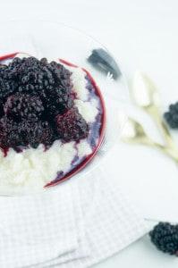 rijstpap met bramencompote