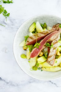 Aspergesalade met steak