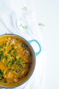 Curry met pompoen en kip