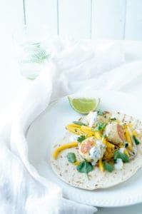 Taco met visballetjes en mango
