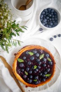 Cheesecake met blauwe bessen