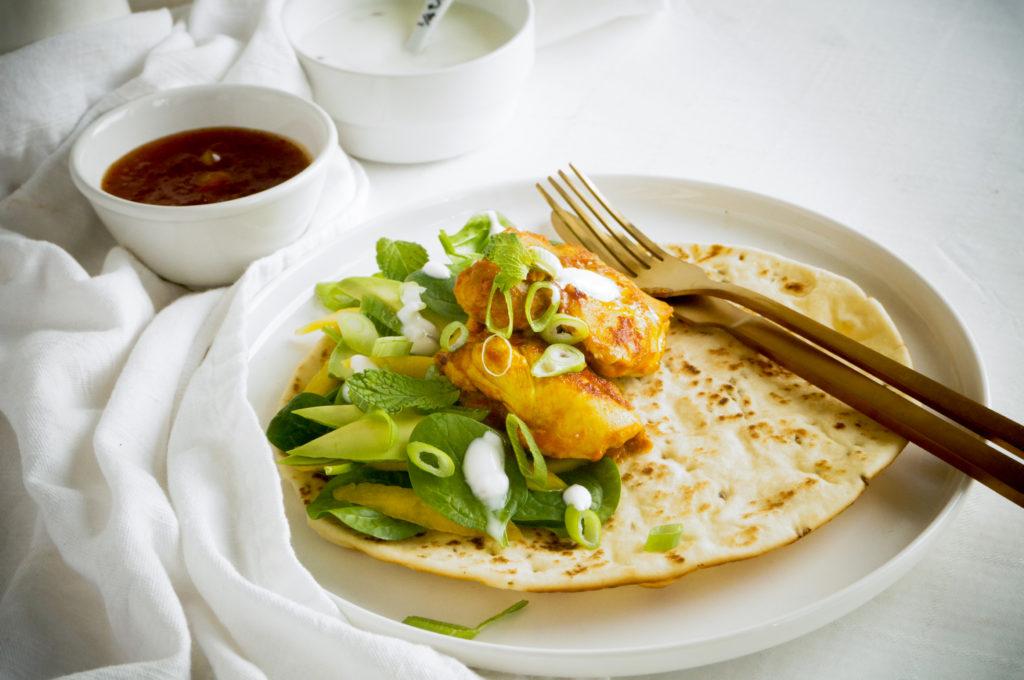 Wrap met Indiase kip en mango