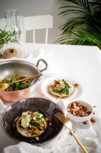 Geroosterde knolselder met spinazie, champignons en gorgonzola