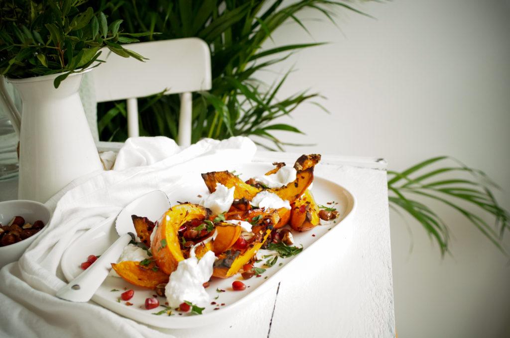 Geroosterde pompoen met chili en burrata