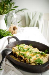 Cannelloni met champignons, ricotta en pesto