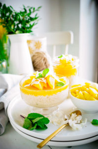 Rijstpudding met kokos en mango