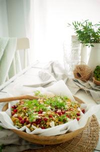 Salade van geroosterde broccoli, feta en granaatappel