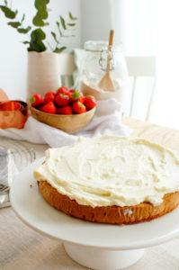 Biscuit met speculaas en aardbeien