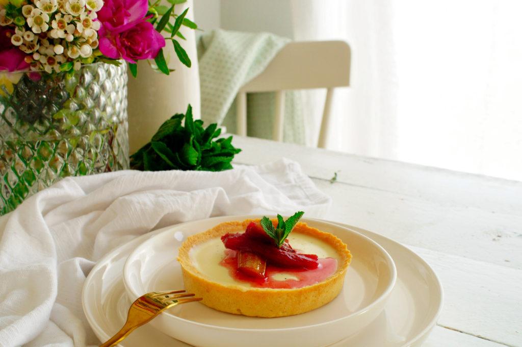 Panna Cotta taart met rabarber