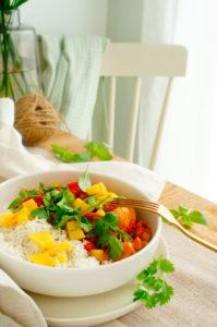 Rode curry met kip