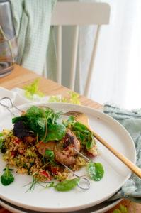 Varkenshaasje met venkel en quinoa salade