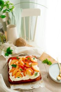 Wortelcake met perzik