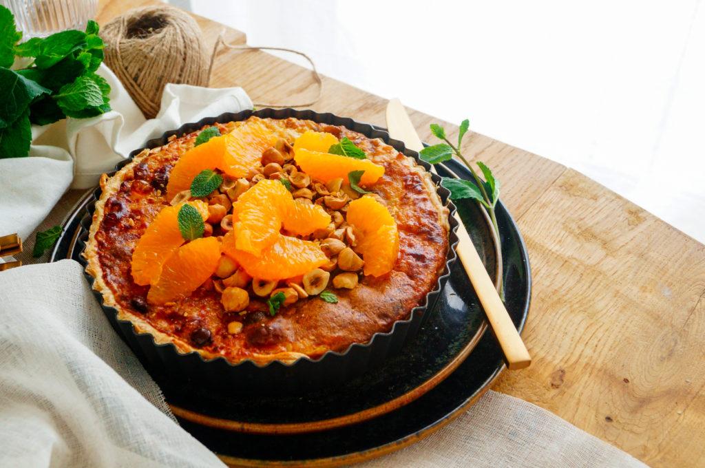 Rijsttaart met chocolade en sinaasappel