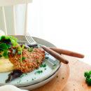 Schnitzel met puree van pastinaak en koolrabi