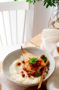 Rijstpap met gember en peer