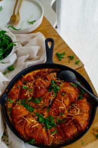 Ovenschotel met croissants, kaas en ham
