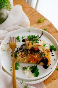 Hartige strudel met pompoen, spinazie en feta