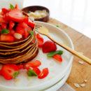 Pannenkoeken met speculaas en aardbeien
