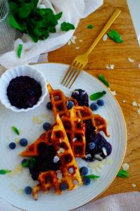 Yoghurt wafels met blauwe bessen