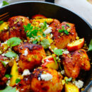 Kip met perziken en feta