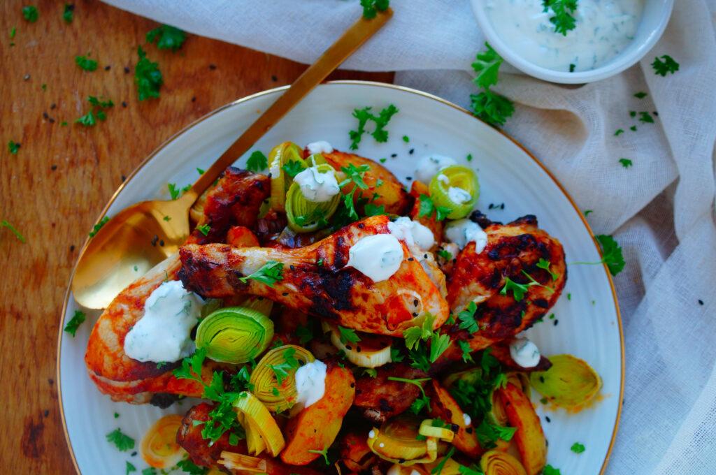 Ovenschotel met kip, aardappelen en harissa