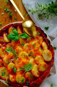 Ovenschotel met chorizo, spek en aardappelen