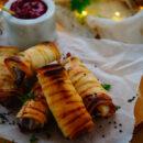 Filodeeghapjes met brie & cranberry-mosterd dip