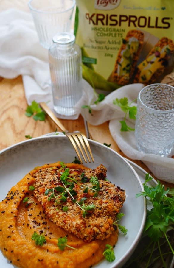 Schnitzel met pompoen-zoete aardappelpuree