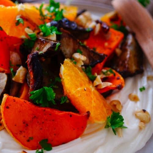Geroosterde aardperen met pompoen en feta