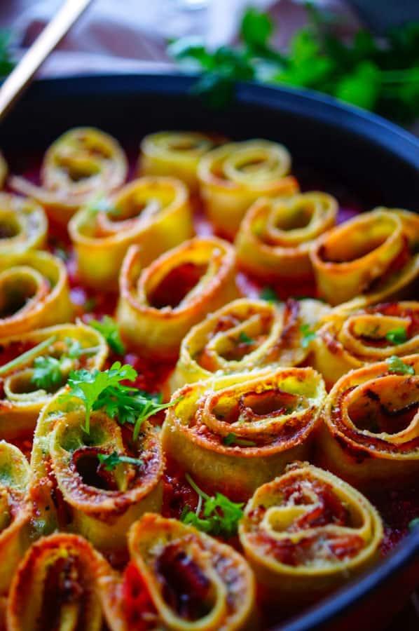 Pastarolletjes met ham, spinazie en mascarpone