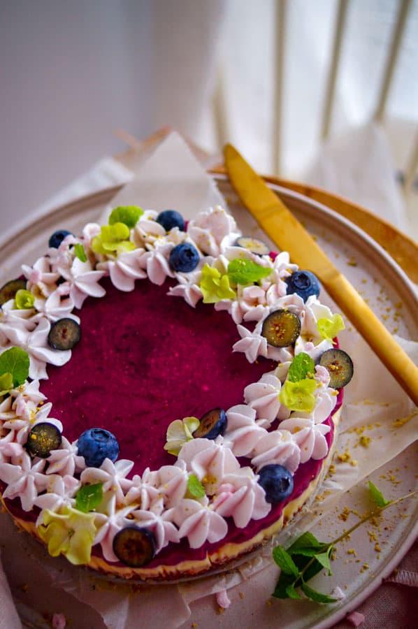 Blauwe bessen taart met chocolade